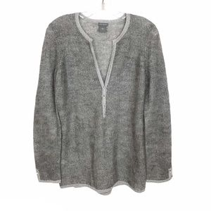 Ann Taylor Mohair Blend Sweater Gray w/Metallic M